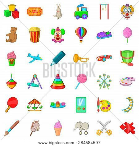 Children Playground Icons Set. Cartoon Style Of 36 Children Playground Icons For Web Isolated On Whi