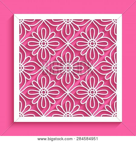 Square Panel With Lace Pattern, Openwork Ornament, Cut Out Paper Decoration, Elegant Stencil Templat