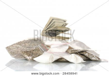 ?ocaine and marijuana in packet isolated on white