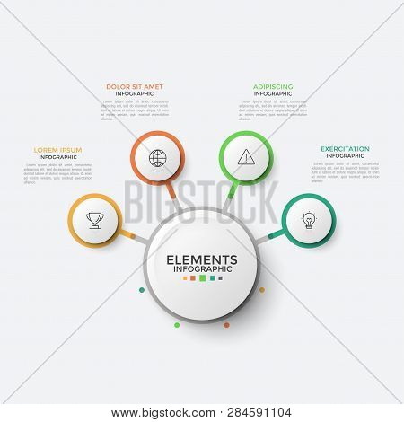 Four Paper White Round Elements With Thin Line Icons Inside Connected To Main Circle. Concept Of Flo