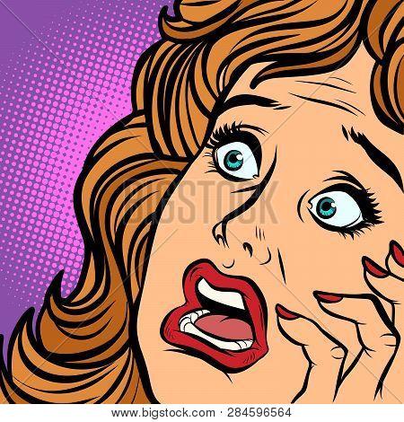 Woman Fear Face. Comic Cartoon Pop Art Retro Vector Illustration Hand Drawing
