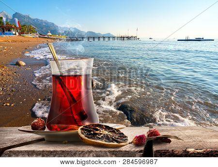 Morning Turkish Tea On Coastline Of Mediterranean Sea