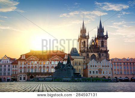 Morning Sun Over Staromestska Square An Tynsky Temple In Prague