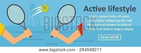 Active Lifestyle Banner Horizontal Concept. Flat Illustration Of Active Lifestyle Banner Horizontal