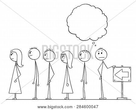 Cartoon Stick Figure Drawing Conceptual Illustration Of Man Waiting In Line Or Queue With Empty Or B