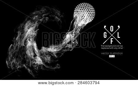Abstract Silhouette Of A Golf Ball On The Dark, Black Background From Particles, Dust, Smoke, Steam.