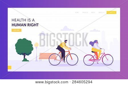 Physical Male And Female Riding Bicycle Landing Page. Healthy Lifestyle Outdoor Concept. Active Peop