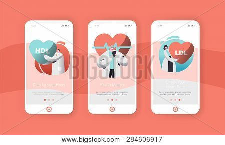 Male And Female Cardiology Doctor Or Health Care Worker Mobile App Page Onboard Screen Set. Checking