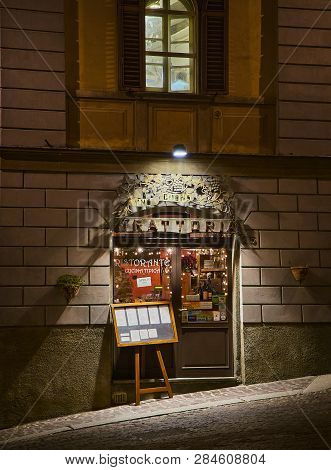 Bergamo, Italy - January 3, 2019. Main Entry Of A Typical Italian Trattoria In A Street Of Citta Alt