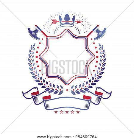 Graphic Emblem Made With Royal Crown Element, Different Armory And Elegant Ribbon. Heraldic Coat Of