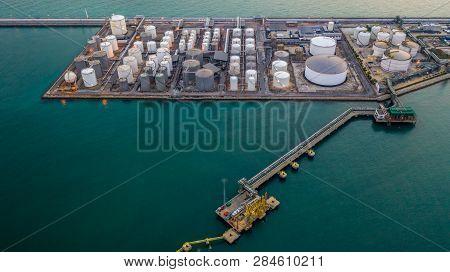 Liquid Chemical Tank Terminal, Storage Of Liquid Chemical And Petrochemical Products Tank, Aerial Vi