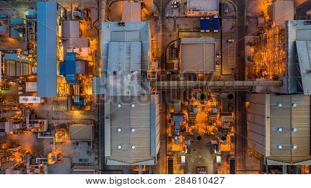 Combined Heat Power Plant, Aerial View Large Combined Cycle Power Plant.