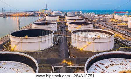 Storage Tanks And Oil Terminal In Petrochemical Terminal Port.