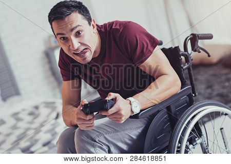 Nice Paralyzed Man Being Involved In The Video Game