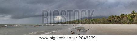 cape tribulation tropical rain forest queensland Australia Daintree rainforest panorama landscape beach dark clouds