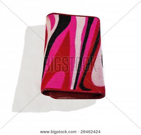 Pink - Women's Red Purse Python Skin. Close-up.