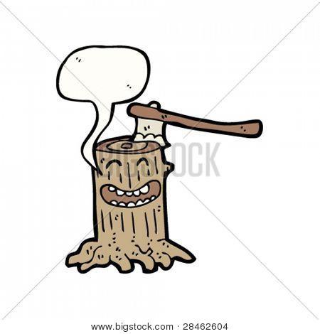 happy tree stump cartoon