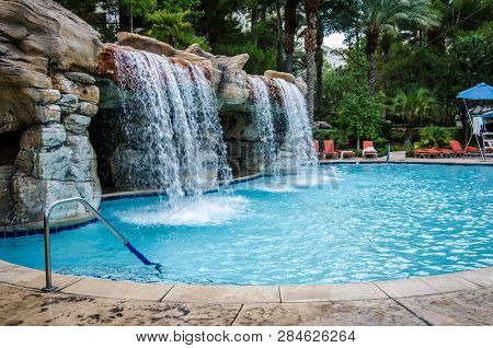 Las Vegas, Nevada - August 4, 2018: Outdoor Tropical Pool Area At The Jw Marriott Hotel And Resort,