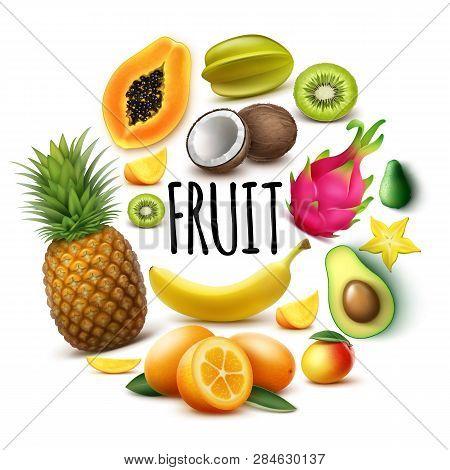 Realistic Fresh Exotic Fruits Round Concept With Banana Pineapple Papaya Coconut Mango Kumquat Avoca