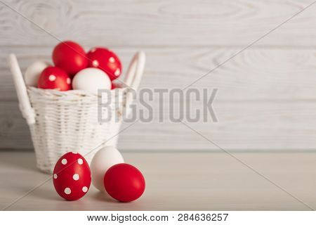 Happy Easter! Painted Easter Eggs And Easter Decoration - Easter Bunnies With Ribbons - Red, White A