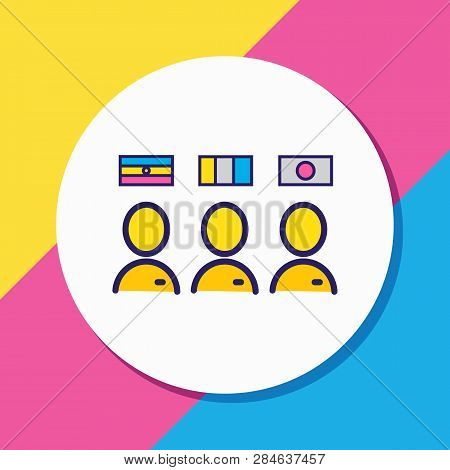 Vector Illustration Of Multilingual Staff Icon Colored Line. Beautiful Travel Element Also Can Be Us
