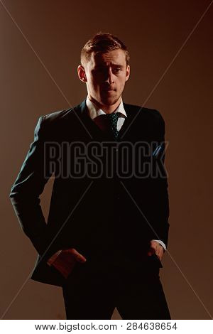 Confidence Concept. Man Feel Confidence In Business Skills. Businessman With Confidence And Charisma