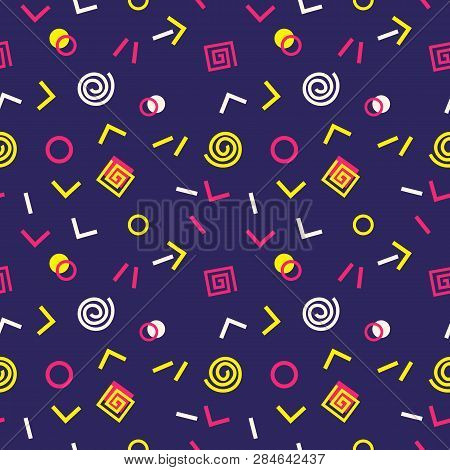 poster of Memphis Swiss style seamless pattern. Flat geometric isolated vector pattern. Bright fun decorative design element. Abstract graphic retro style texture background. Modern vibrant bold color template