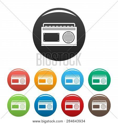 Old Vintage Radio Icons Set 9 Color Vector Isolated On White For Any Design