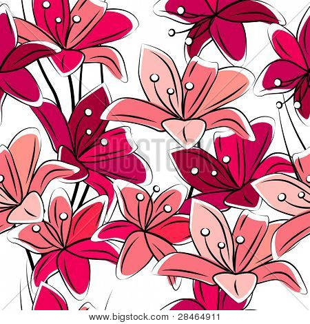 Seamless pattern with red lilies on white. Raster version.