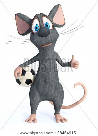 3d Rendering Of A Cute Smiling Cartoon Mouse Posing With A Soccer Ball In His Hand And Doing A Thumb