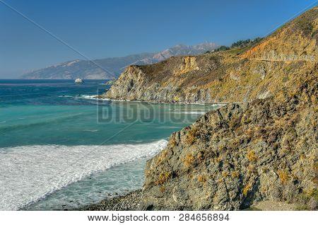 Crashing Waves Of Pacific Coast At Big Sur
