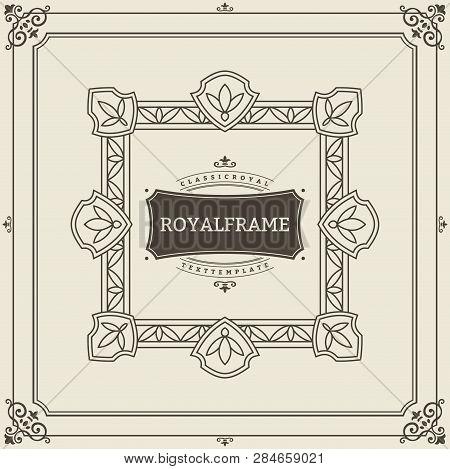 Vintage Ornament Greeting Card Vector Template. Retro Luxury Invitation, Royal Certificate. Flourish