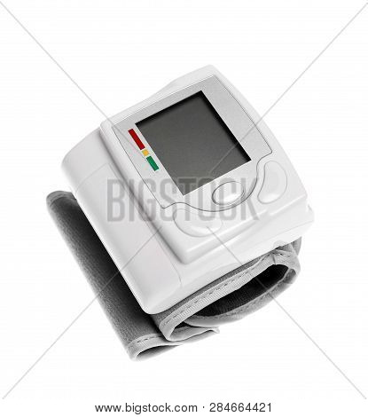 Digital Blood Pressure Monitor On White Background. Cardiology Equipment