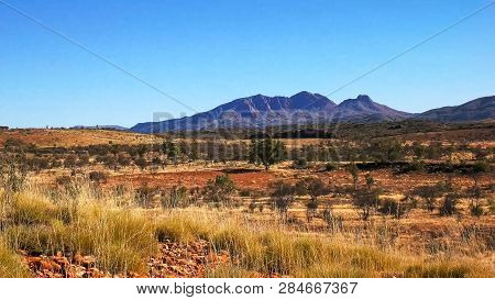 Wide Shot Of Mount Sonder In The West Macdonnell Ranges
