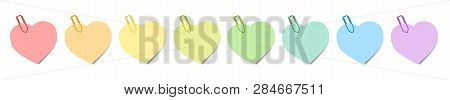 Heart Shaped Colorful Notes With Colored Paper Clips. Isolated Vector Illustration Over White Backgr