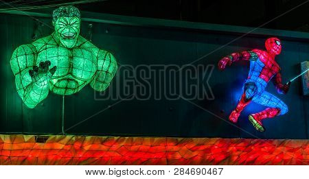 Dongducheon, South Korea; February 1, 2019:  Light Figures Resembling The Hulk And Spiderman On Fron