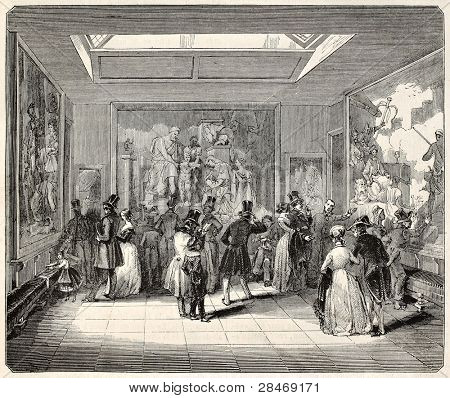 Gobelins Manufactory old illustration, exhibition hall, Paris. Created by Best, Leloir, Hotelin and Regnier, published on Magasin Pittoresque, Paris, 1845