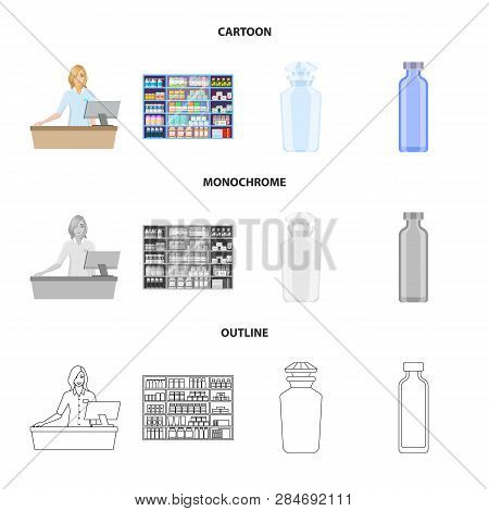 Vector Design Of Retail And Healthcare Symbol. Set Of Retail And Wellness Vector Icon For Stock.