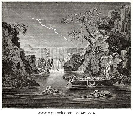 The deluge old pictorial representation. Created by Frere after painting by Poussin kept in Louvre museum, published on Magasin Pittoresque, Paris, 1845