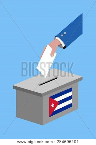 Vote For Cuban Election With Voting Ballot And Cuba Flag. All The Silhouette Objects, And Background