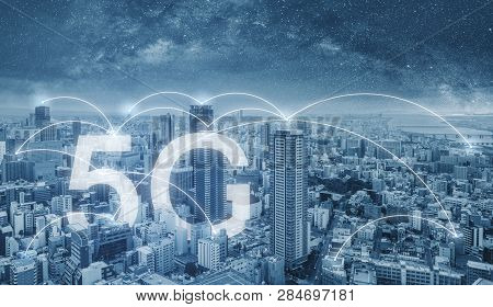 5g Internet Networking In The City, Cityscape And Connections Link