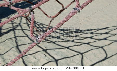 Climbing Rope Outdoor Playground Equipment Over Sand