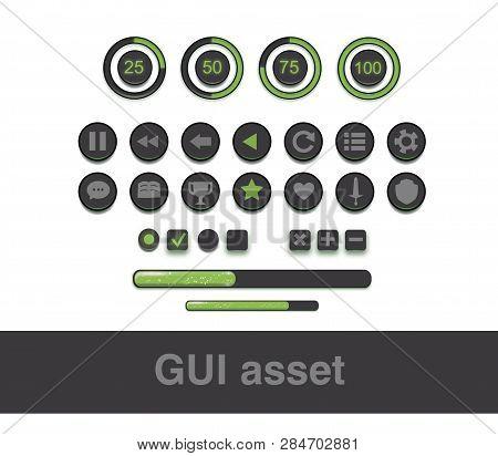 Ui Kit Mobile, Ui Green Kit App, Game Assets, Gui Layout.ui, User Interface