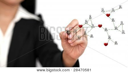 Asian business woman drawing Social Network in Love Concept (selective focus)