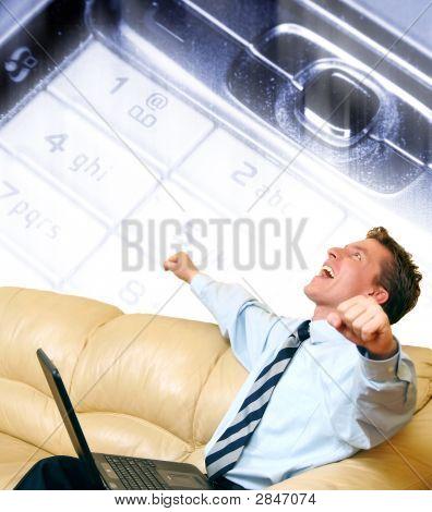 Young Businessman Enjoying A Success