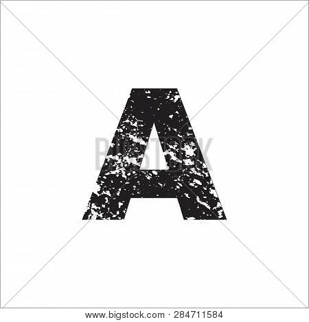 A Black Grunge Letter Or Font Symbol Icon Simple Vector Sign And Abstract Symbol.  A Letter Or Font