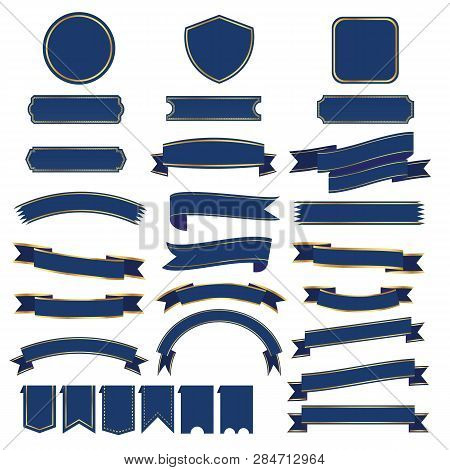 Set Of Blue Ribbon Baner Icon,ribbon Banner And Arch Banner On White Background, Ribbon  Has Gold Tr