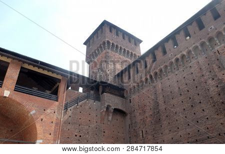 MILAN, ITALY - JUNE 22, 2018: Sforza Castle in Milano, Italy, built in the 15th century by Francesco Sforza, Duke of Milan, on the remnants of a 14th-century fortification