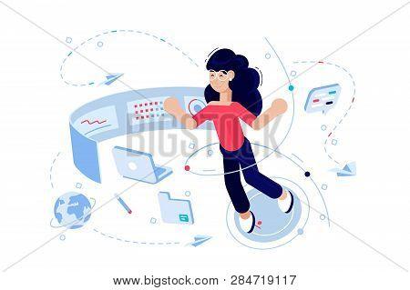 Woman Programmer At Work Process Vector Illustration