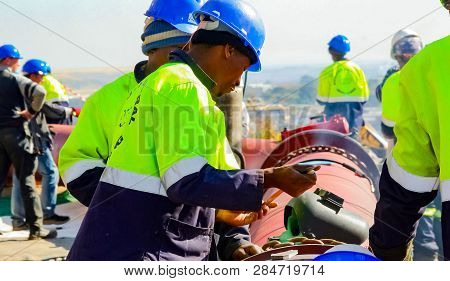 Construction Worker On A Building Site